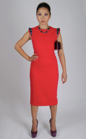 Altana-Danzhalova-Coral-Printed-Shoulder-Dress