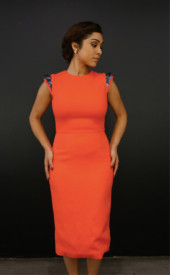 Altana-Danzhalova-Coral-Square-Shoulder-Dress