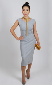 Altana-Danzhalova-Gray-Wool-Dress